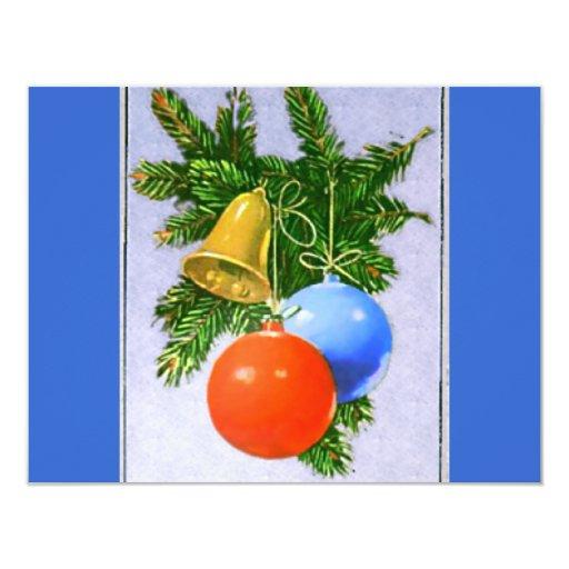 """Diseño de los ornamentos del árbol de navidad invitación 4.25"""" x 5.5"""""""