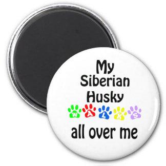 Diseño de los paseos del husky siberiano imán redondo 5 cm