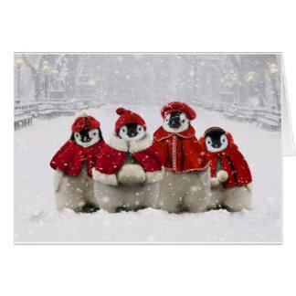 Diseño de los pingüinos del navidad rojo y blanco tarjeta de felicitación