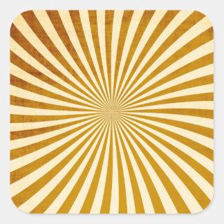 Diseño de los rayos del vintage pegatina cuadrada