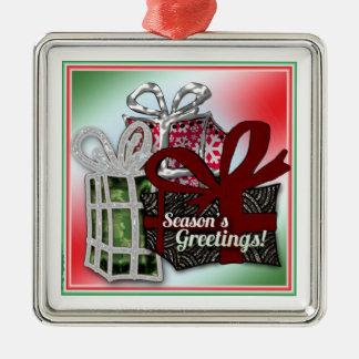 Diseño de los regalos del navidad adorno navideño cuadrado de metal