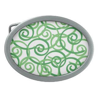 Diseño de los remolinos del verde hebillas de cinturon