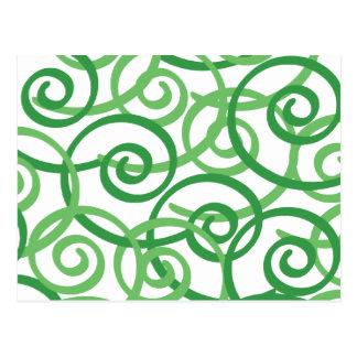 Diseño de los remolinos del verde postales