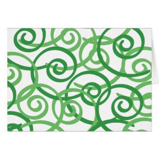 Diseño de los remolinos del verde tarjeta de felicitación