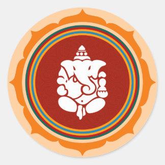 Diseño de Lotus Ganesha Pegatina Redonda