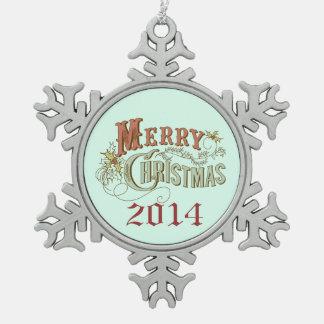 Diseño de lujo del texto de las Felices Navidad Adorno De Peltre En Forma De Copo De Nieve