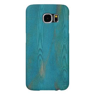 Diseño de madera azul de la textura del trullo fundas samsung galaxy s6