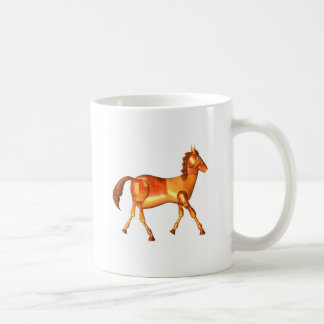 Diseño de madera del zodiaco del caballo de taza de café