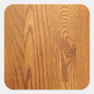 Diseño de madera ligero del grano pegatina cuadrada