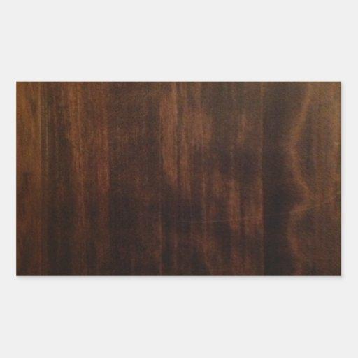 Diseño de madera oscuro antiguo pegatina rectangular
