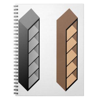 Diseño de madera simple del estante libretas espirales