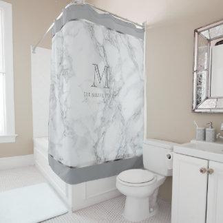 Diseño de mármol blanco y gris del monograma cortina de baño