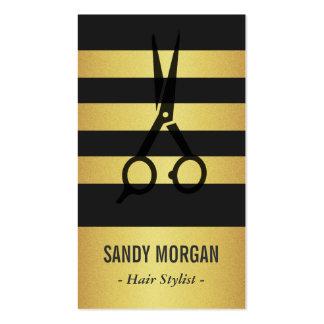 Diseño de moda de las rayas del brillo del oro - tarjetas de visita