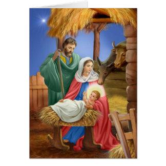 Diseño de Navidad de la natividad del vintage Tarjetón