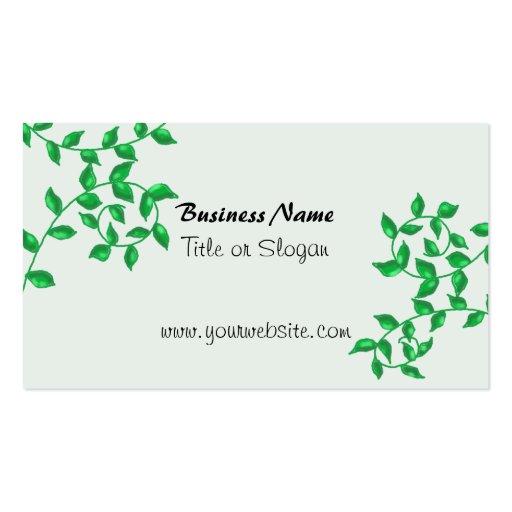 Diseño de negocio verde de las vides tarjetas de visita