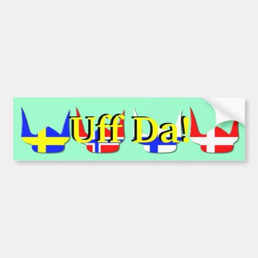 Diseño de Noruega de la bandera de Viking del casc Etiqueta De Parachoque