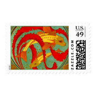 Diseño de Nouveau Deco del arte del Goldfish de Franqueo