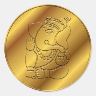 Diseño de oro de Ganesha Pegatina Redonda