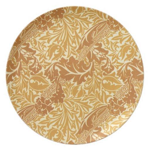 Diseño de oro de la hoja platos de comidas