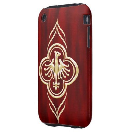 Diseño de oro de Phoenix en rojo Tough iPhone 3 Carcasas
