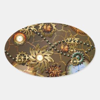 Diseño de oro de Steampunk con los relojes y los Pegatina Ovalada