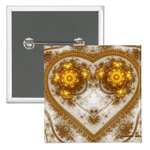 Diseño de oro del corazón pin cuadrada 5 cm