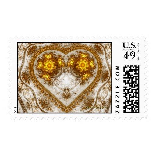 Diseño de oro del corazón sellos postales