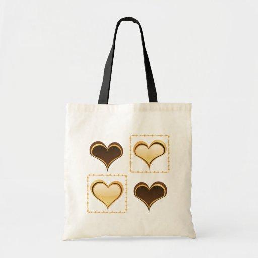 Diseño de oro del tote de los corazones bolsa de mano