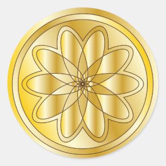 Diseño de oro elegante pegatina redonda