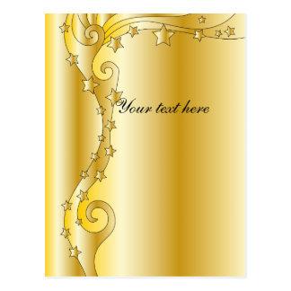 Diseño de oro festivo con las estrellas postales