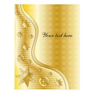 Diseño de oro festivo con las estrellas tarjetas postales