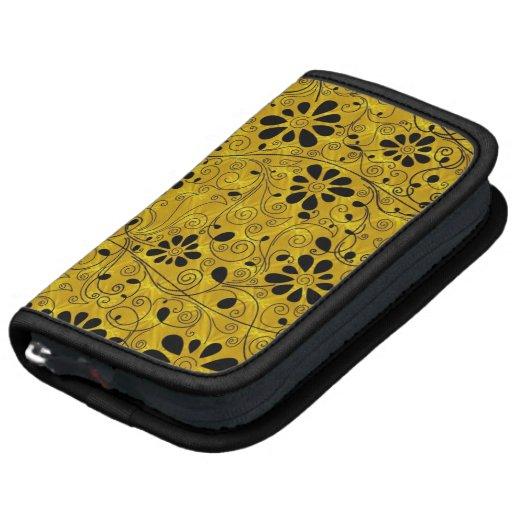Diseño de oro negro lindo del fondo de las flores organizadores