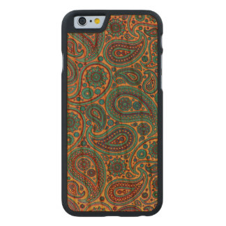 Diseño de Paisley de la turquesa Funda De iPhone 6 Carved® Slim De Cerezo