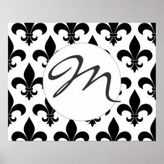 Diseño de París del francés del monograma de la fl Póster