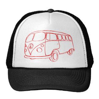 Diseño de Peace Van Vintage Retro Gorras