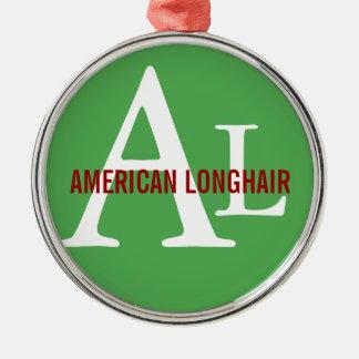 Diseño de pelo largo americano del monograma adorno navideño redondo de metal