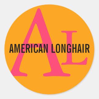 Diseño de pelo largo americano del monograma pegatina redonda