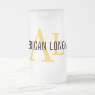 Diseño de pelo largo americano del monograma taza de cristal