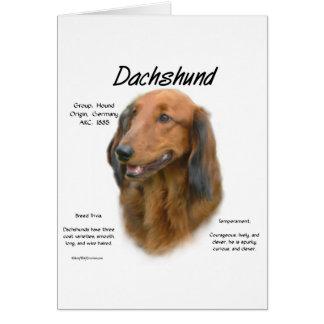 Diseño (de pelo largo) de la historia del Dachshun Tarjeta De Felicitación