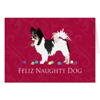 Diseño de pelo largo del navidad de la chihuahua tarjeta de felicitación