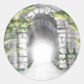 diseño de piedra bonito del enrejado del túnel pegatina redonda