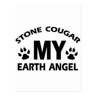 diseño de piedra del gato del puma postal