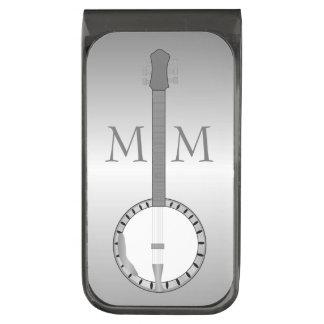 Diseño de plata con monograma del banjo clip para billetes plomizo