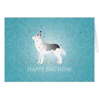 Diseño de plata del feliz cumpleaños del perro del tarjeta de felicitación