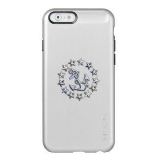 Diseño de plata náutico del tema de la bandera del funda para iPhone 6 plus incipio feather shine