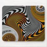 Diseño de plata negro anaranjado abstracto de Mous Alfombrilla De Ratones
