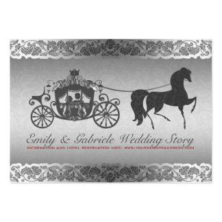 Diseño de plata y negro del boda del caballo y del tarjetas de visita grandes
