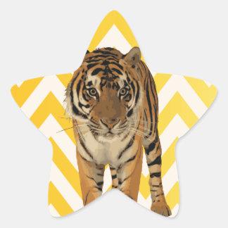 Diseño de producto del arte de los tigres pegatina forma de estrella personalizadas