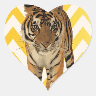 Diseño de producto del arte de los tigres calcomanías corazones