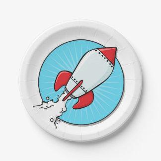 Diseño de RocketShip del dibujo animado Plato De Papel De 7 Pulgadas